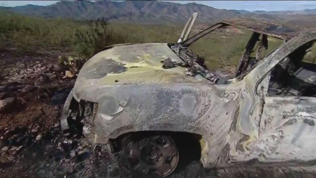 Así quedó uno de los autos en los que la familia LeBarón fue masacrada en México